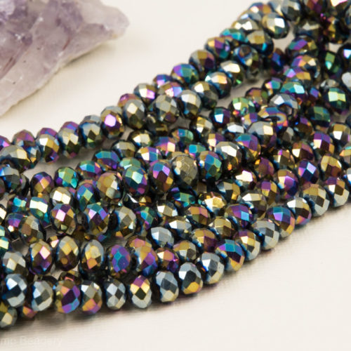 Faceted Glass Beads, 8x6mm, 16 Inch Strand,  Abacus Shape,  Electroplated Beads -B91