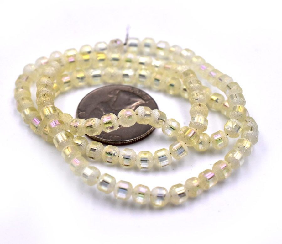 Frosted Glass Beads, 5mm Diameter, Electroplate, Light Yellow, 0.5-1mm Hole, 18 inch strand -C660