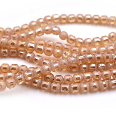 Frosted Glass Beads, 5mm Diameter, Electroplate, Peach, 0.5-1mm Hole, 18 inch strand -C661