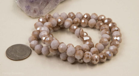 Glass Beads, 10x6mm, 22 Inch Strand, Light Pink AB Finish, Electroplated Beads -B105