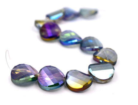 Glass Beads, 12pcs, 22x6mm,  Twist Style, 1mm Hole -B515