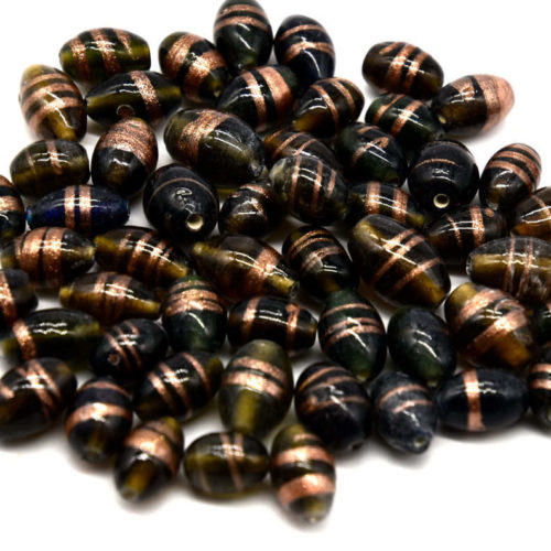 Glass Beads, 40pcs, Mixed Sizes and Shapes,  Indian  Beads, Brown / Black -B804