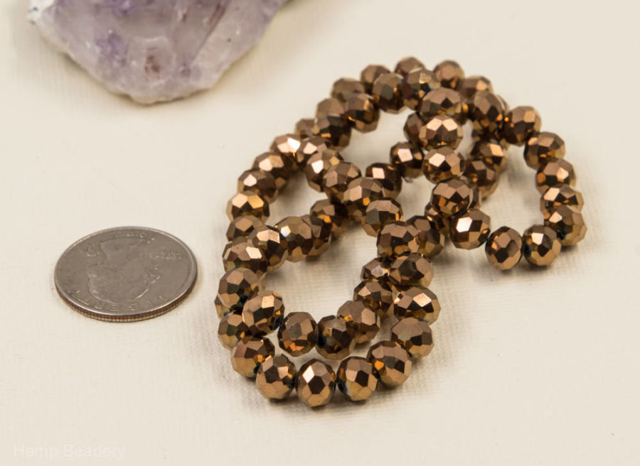 Glass Beads, 8x6mm, 16 Inch Strand, Copper Finish, Faceted, Electroplated Beads -B63