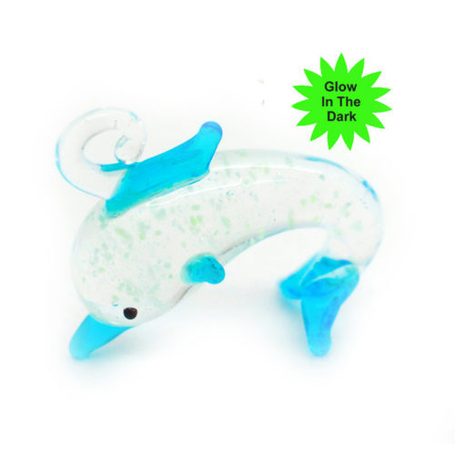 Glow in The Dark Dolphin  Pendant, 5pcs,  18x20mm, Blue Dolphin, Glass Pendants -P138