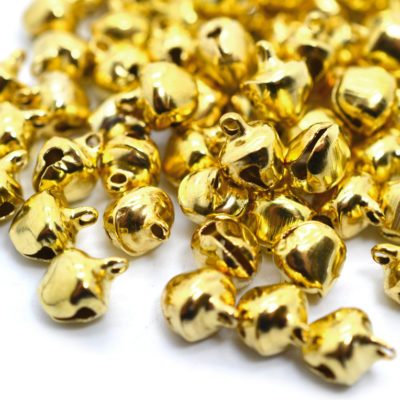 Gold  Bells, 100 pcs, 7mm,  Ankle  Bells, Dancing Bells, Bells,   Christmas  Bells -B374