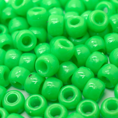 Green Pony Beads, 480pcs, 9mm, Plastic Beads, Kids Beads, Bracelet Beads - B80