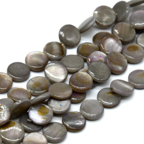 Grey Shell Beads,  15 Inch Strand, 10x2,  Round Shell Disc -B874