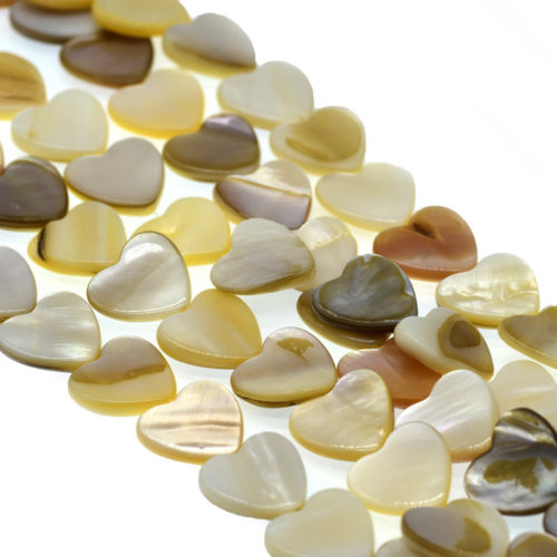 Heart Shell Beads, Natural Color, 14 Inch Strand, 15x15mm,  Flat   Shell, 0.8mm Hole -B714