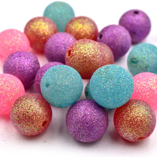 Large Sparkle Acrylic  Beads, 24mm,  10pcs, Mixed Colors,  Focal Beads -C650
