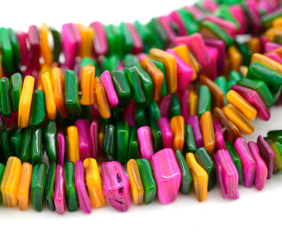 Multi Colored Shell Beads,  12 Inch Strand, Dyed Shell beads -B284