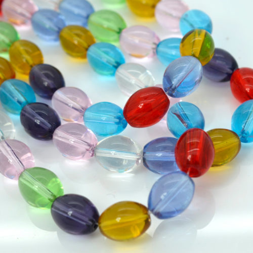 Oval  Glass Beads, 28pcs, 13x10mm,  Clear   Glass  Beads -B550