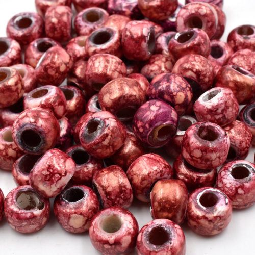Red Marbled Glass Beads, 100pcs, 9mm, Crow Beads, Red Pony Beads,  Indian Crow - B152
