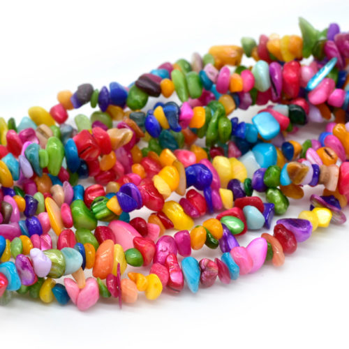 Shell Chip Beads, 30 Inch Strand, Dyed Shell, Colorful Shells -C627