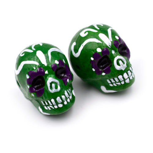 Skull Beads, 2 pcs, Sugar Skulls, Painted Skull Beads, Dia de la Muertos, Halloween Beads -R191