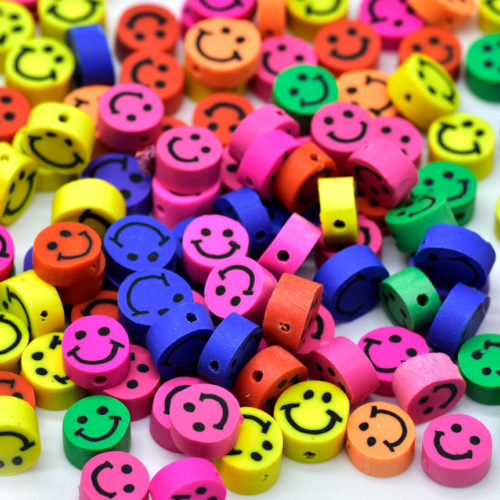 Smiling Face Beads, 50pcs, 8mm, 1mm Hole, Fimo Beads, Polymer Clay -C648
