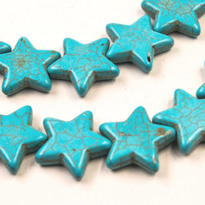 Star Beads, 25mm, 10pc Stand, Mixed Color,  Howlite   Stone Beads -B870