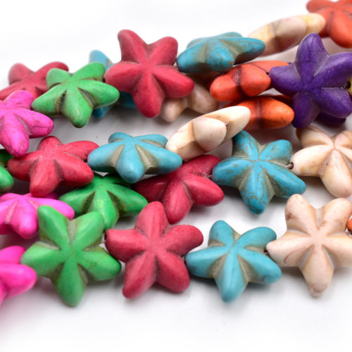 Starfish  Beads, 16 Inch Strand, 23mm, Howlite Beads, Mixed Colors -B604