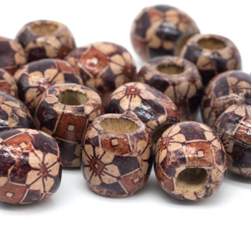 Wood Barrel Beads, 50pcs, 16x15mm, Macrame Beads,  Patterned Wood Beads, 6mm Hole -B741