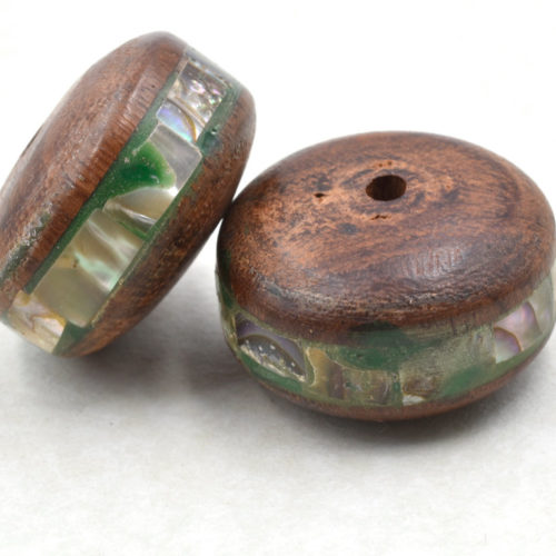 Wood  Beads,  2pcs, 30 x 15mm, 2mm  Hole,  Inlaid Shell  Focal Beads -B568