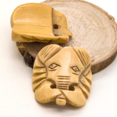 Bone Elephant Beads, 2pcs, 30x30mm, Carved Bone, Animal Beads -B904