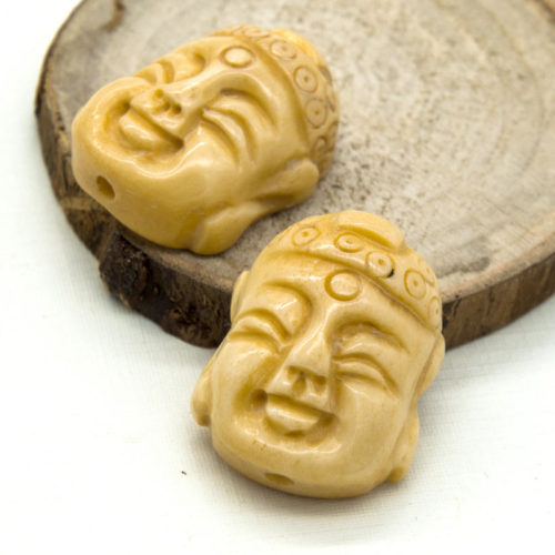 Buddha Bone Beads, 2pcs, 25x20mm, Carved Bone Pendant -B913