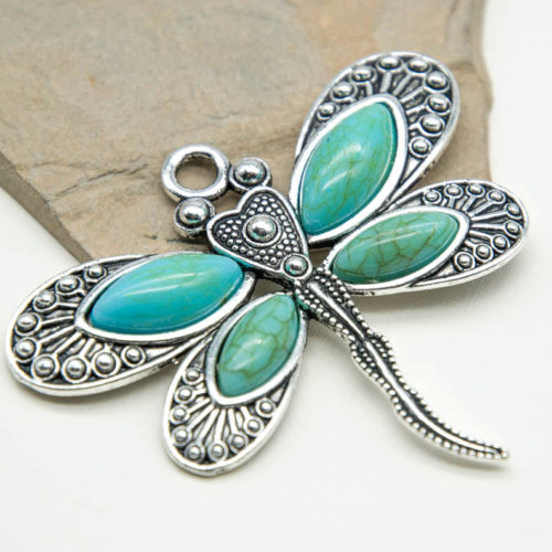 Butterfly Pendant, Metal Pendants, 1pc, 60x30mm, Boho Style, Faux Turquoise Stone