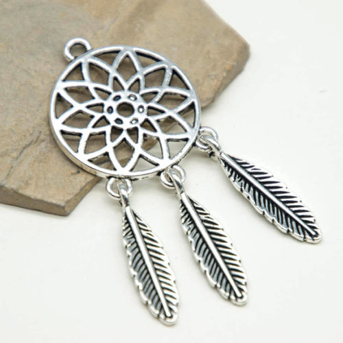 Dreamcatcher Pendant, 5pcs, 25mm, Metal Pendants, Charms