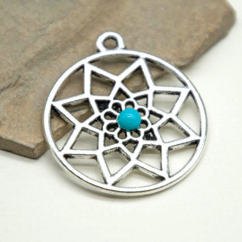 Dreamcatcher Pendant, 5pcs, 27mm, Boho Charms, Web