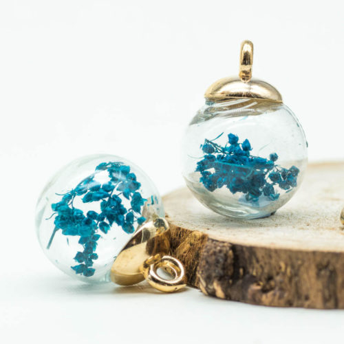 Dried Flower Pendant, Glass Globe Charm, 5pcs, 17mm,  Blue Charms