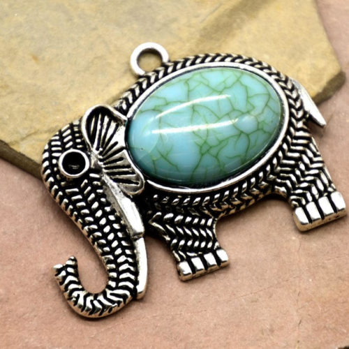 Elephant Pendant, 2pcs, 40x33mm, Faux Turquoise Stone, Animal Pendant -C820