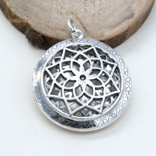 Flower Locket, 1pc, 33mm, Open Hinge, Antique Silver Pendant-C841