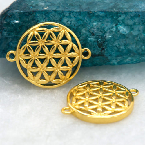 Flower Of Life Links,  15mm,  2pcs,  Bracelet Links,  Alloy Metal -C818
