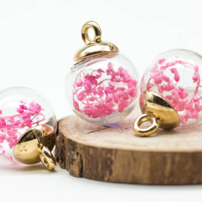 Glass Globe Charm, 5pcs, 17mm,  Dried Flower  Pendant,  Bright  Pink Flowers