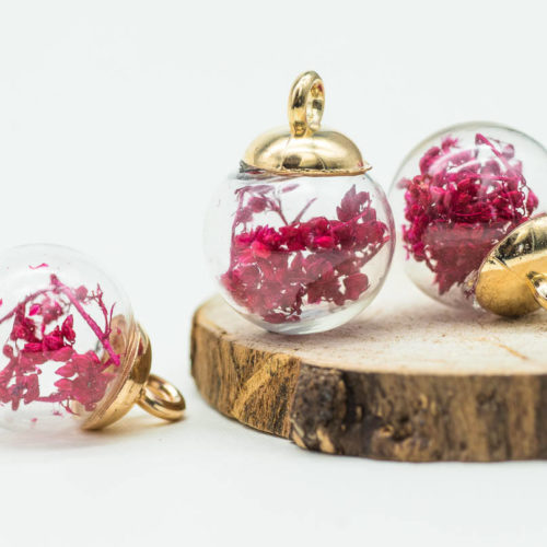 Glass Globe Charm, 5pcs, 17mm,  Dried Flower  Pendant, Red