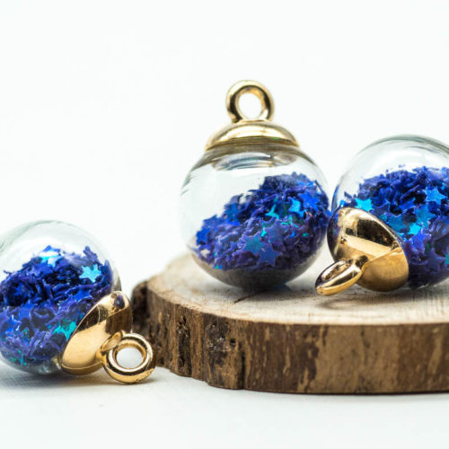 Glitter Globe Charm, Gold Pendant, Glass Globe,  5pcs, 17mm,  Blue Glitter