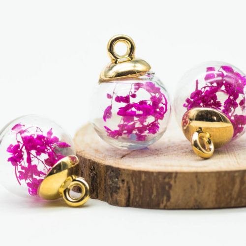 Gold Glass Globe Charm, 5pcs, 17mm,  Dried Flower  Pendant, Pink Flowers