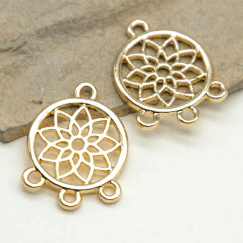 Gold Tone Flower Connector, 10pcs, 14mm, Earring Findings