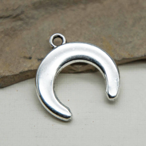 Half Moon Charm, Silver Tone, 10pcs, 15mm, Crescent, Double Horn