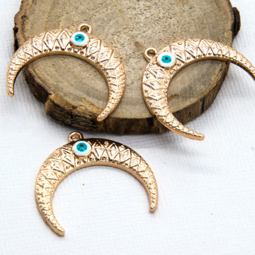 Half Moon  Pendant, 5pcs, 30mm, Evil Eye, Gold Tone -C825