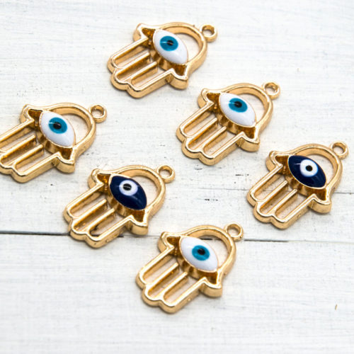 Hamsa Evil Eye Charms, 10pcs, 15x20mm, Gold Tone, Jewelry Charms -C827