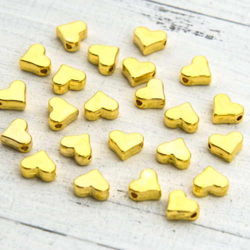 Heart Beads, 50pcs, 7x6mm, Gold Spacer Beads, Alloy  Metal-C823