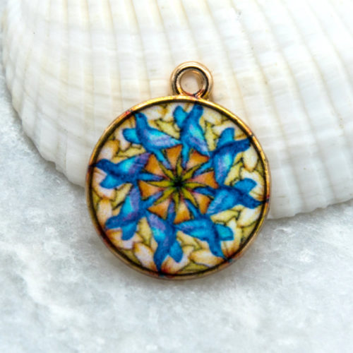 Mandala Pendant,  18mm,  5pcs,  Yoga Charms,  Round Glass Pendant -C821