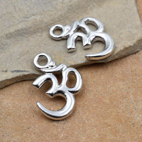 Ohm Charms, 2pcs, 15x13mm,  Silver Plated,  Om Symbol, Silver Charms, Ohm Pendant