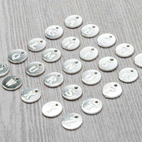 Silver Letter  Charms, 25pcs, Round Stamped Charms, Alphabet letters -C834
