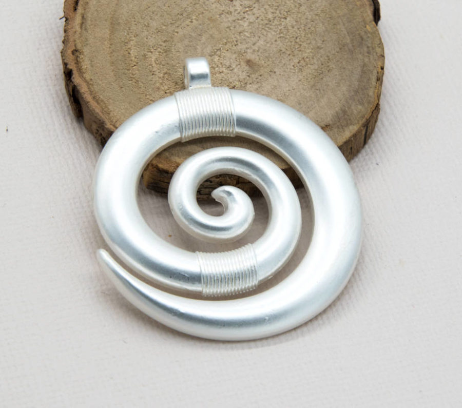 Spiral Pendant, 45mm, Silver Plated, 1pc, Large Pendant, Spiral -C828
