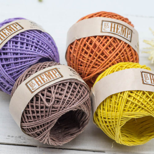 Coloured Hemp Twine, Hemp String, 4 Mini Balls, 82 Feet, 1mm Hemp, Craft Twine