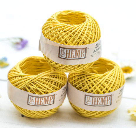Hemp Twine 1mm,   Yellow String, 3 Mini Balls,  82 feet, Macrame  Cord, Colored Hemp,  Natural Twine -T95