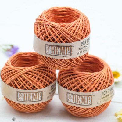 Hemp Twine, Hemp  Ball, Orange Twine, 3 Mini Balls, 1mm,  82 feet,Hemp String,  Macrame Cord, Craft Cord -T95