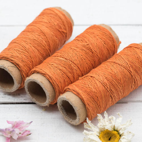 Orange Hemp Thread, Hemp Cord, Natural Thread,  0.2mm, 66 Yards, 3 mini Spools, Bead Cord, Sewing  Thread  -HC119