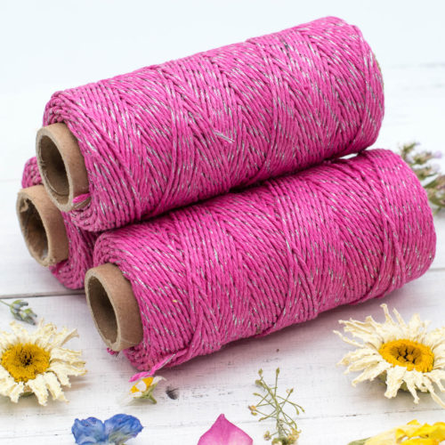 Pink Bakers Twine, 1mm,  205 feet spool, Hemp Bakers Twine,   Metallic Twine, Christmas, Gift Twine -T63
